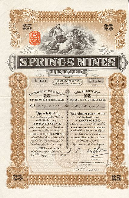 Springs Mines Limited historic stocks - old certificates