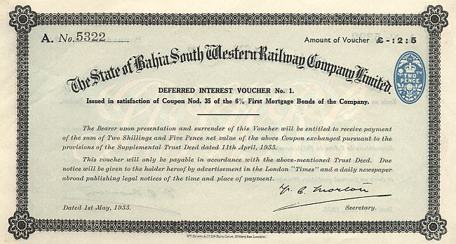 State of Bahia South Western Railway Company Limited historic stocks - old certificates