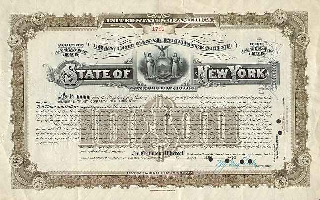 State of New York (10000$ Canal Improvement Bond)  historic stocks - old certificates