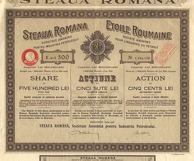 Steaua Romana Societate Anonima Pentru Industria Petroleului historic stocks - old certificates