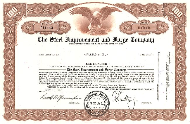 Steel Improvement and Forge Company historic stocks - old certificates