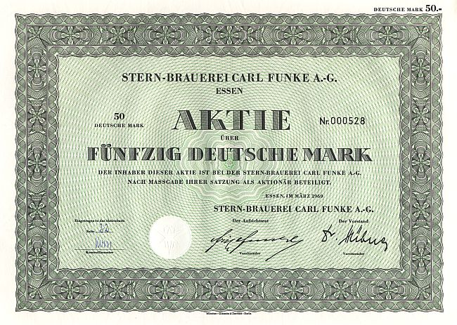 Stern Brauerei Carl Funke A.-G. (1969) historic stocks - old certificates
