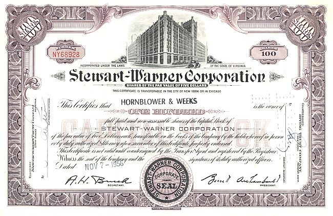 Stewart-Warner Corporation historic stocks - old certificates