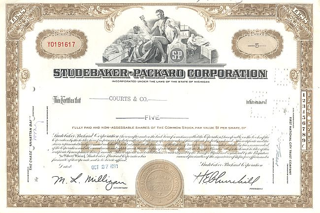 Studebaker-Packard Corporation historic stocks - old certificates