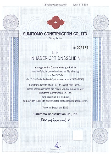 Sumitomo Construction Co. historic stocks - old certificates