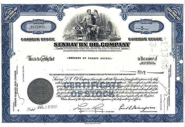 Sunray DX Oil Company historic stocks - old certificates