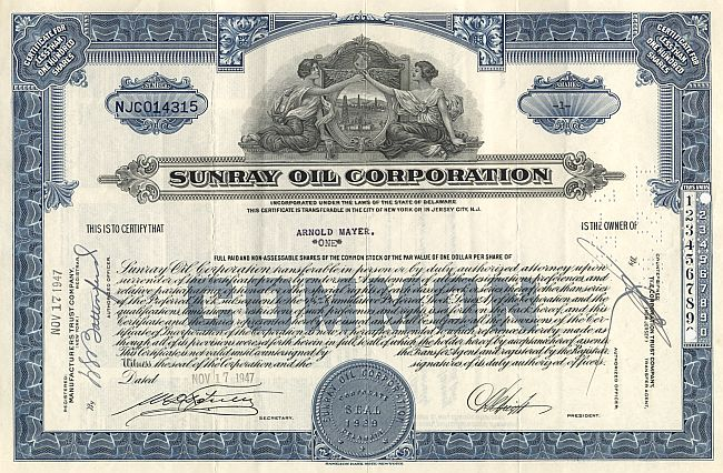 Sunray Oil Corporation historic stocks - old certificates
