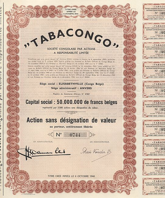 Tabacongo historic stocks - old certificates