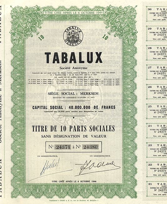 Tabalux historic stocks - old certificates