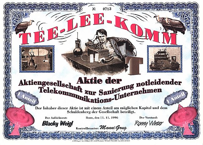 Tee-Lee-Komm (Juxaktie) historic stocks - old certificates