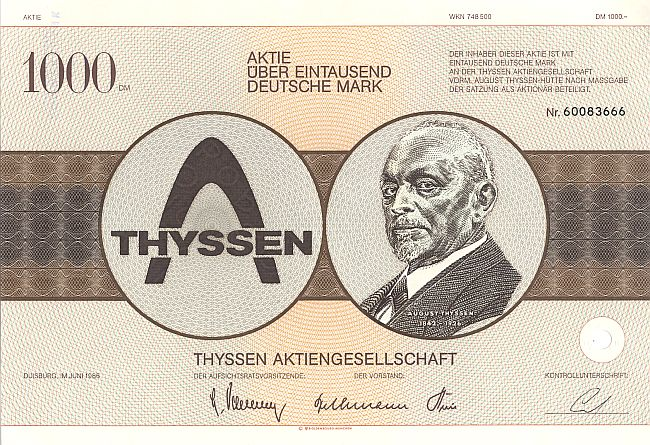 Thyssen Aktiengesellschaft historic stocks - old certificates