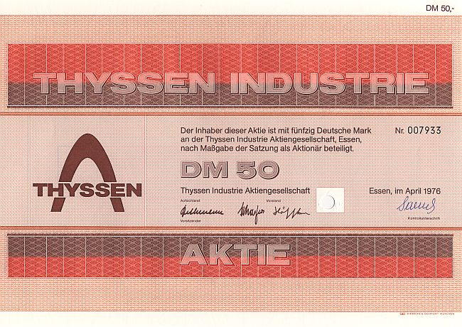 Thyssen Industrie historic stocks - old certificates