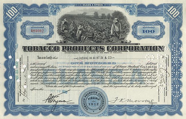 Tobacco Products Corporation historic stocks - old certificates