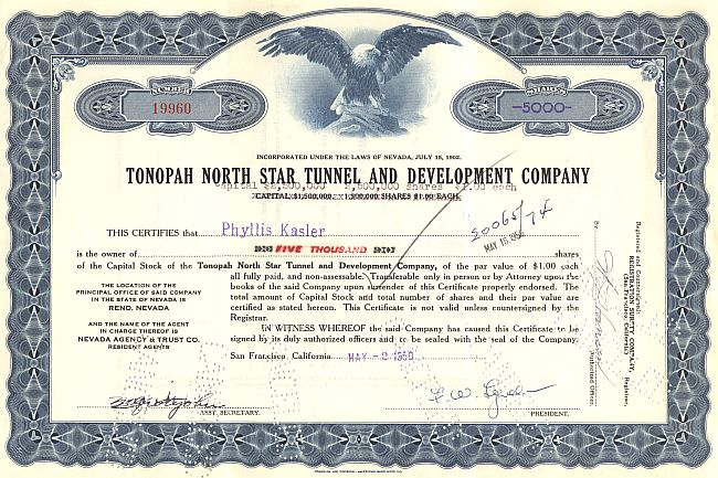 Tonopah North Star Tunnel and Development Company historic stocks - old certificates