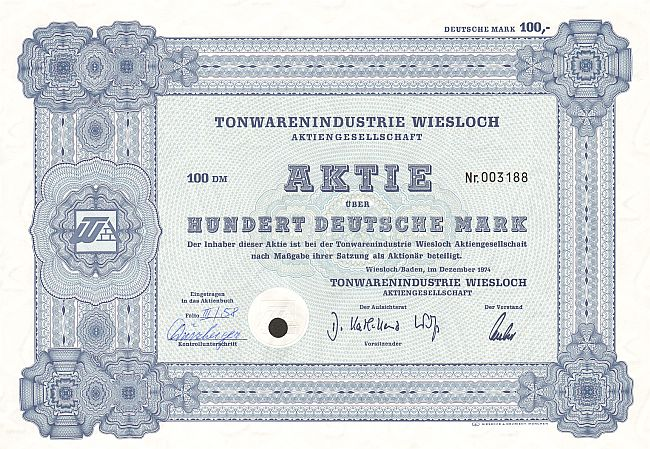 Tonwarenindustrie Wiesloch historic stocks - old certificates
