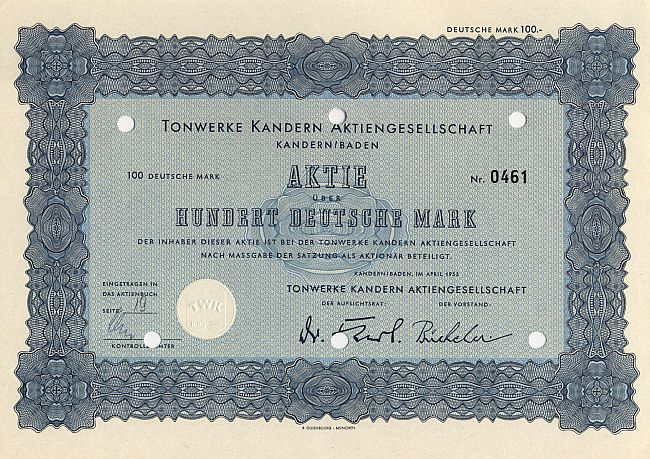 Tonwerke Kandern Aktiengesellschaft historic stocks - old certificates