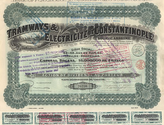 Tramways et Electricite de Constantinople historic stocks - old certificates