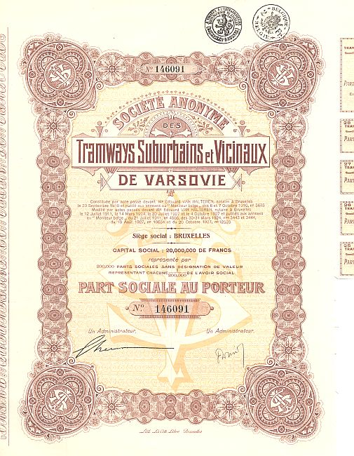 Tramways Suburbains et Vicinaux de Varsovie historic stocks - old certificates