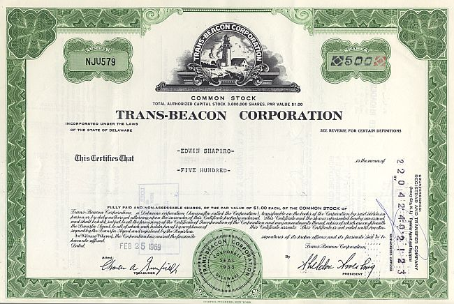 Trans-Beacon Corporation historic stocks - old certificates