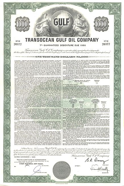 Transocean Gulf Oil Company historic stocks - old certificates
