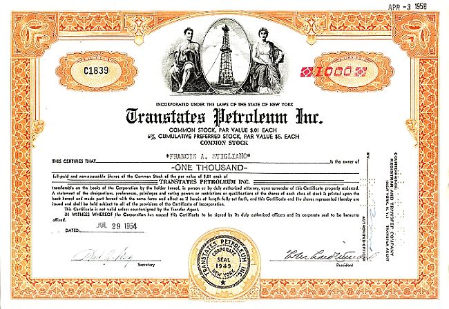 Transtates Petroleum Inc. historic stocks - old certificates