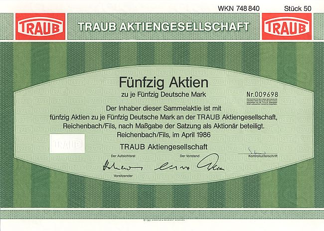 Traub Aktiengesellschaft historic stocks - old certificates