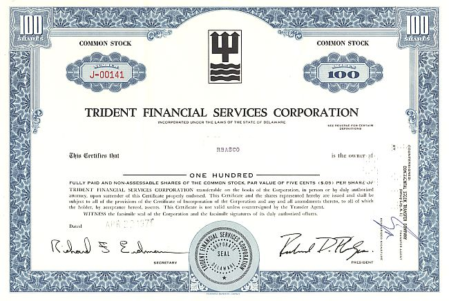 Trident Financial Services Corporation historic stocks - old certificates