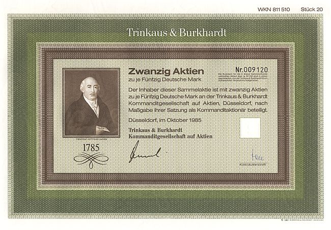 Trinkaus & Burkhardt historic stocks - old certificates