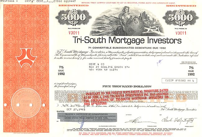 Tri-South Mortgage Investors historic stocks - old certificates