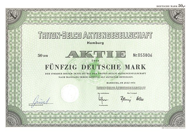 Triton-Belco Aktiengesellschaft historic stocks - old certificates
