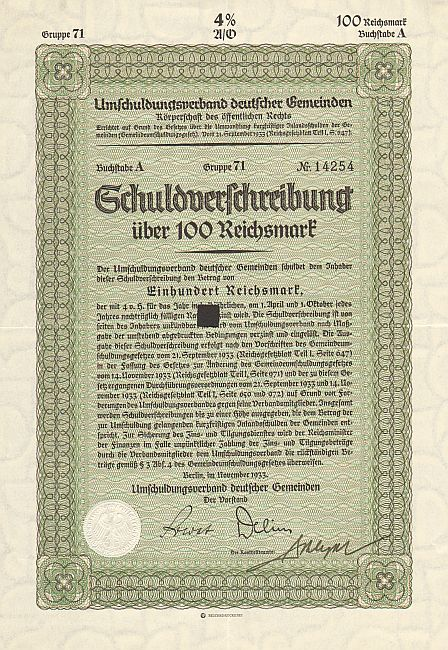 Umschuldungsverband deutscher Gemeinden -  historic stocks - old certificates Cities and States