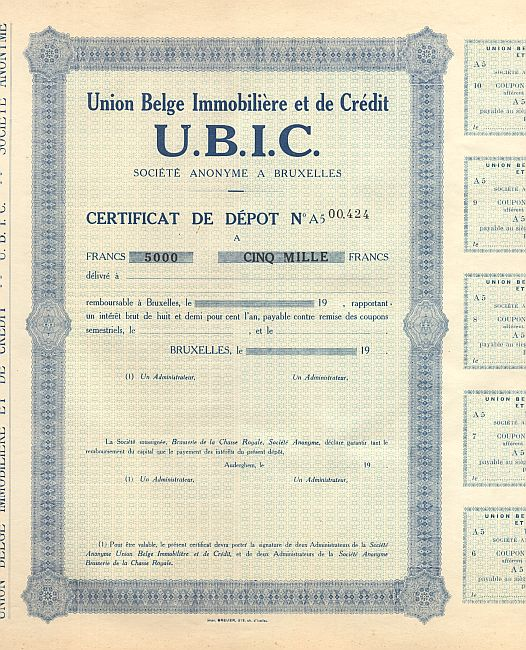 Union Belge Immobiliere et de Credit (U.B.I.C.) historic stocks - old certificates