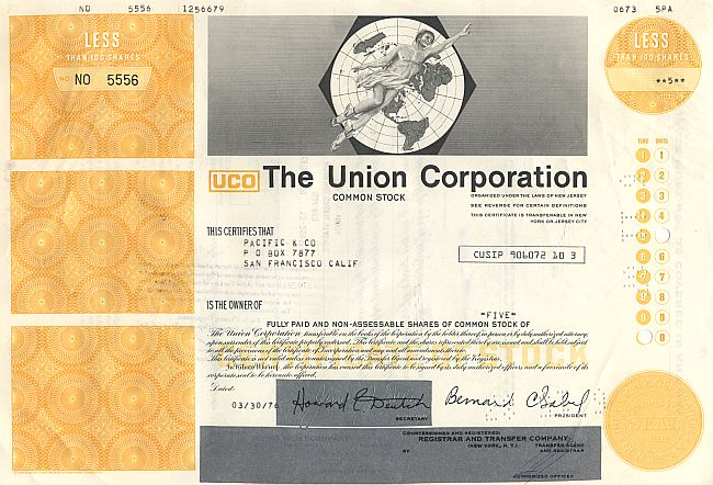 Union Corporation (UCO) historic stocks - old certificates