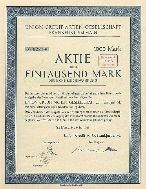 Union-Credit-Aktien-Gesellschaft historic stocks - old certificates
