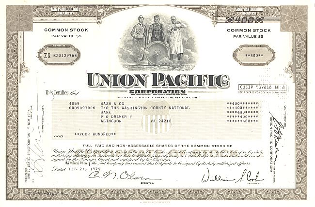 Union Pacific Corporation historische Wertpapiere - alte Aktien