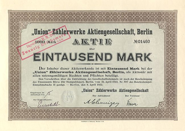 Union Zählerwerke Aktiengesellschaft, Berlin historic stocks - old certificates