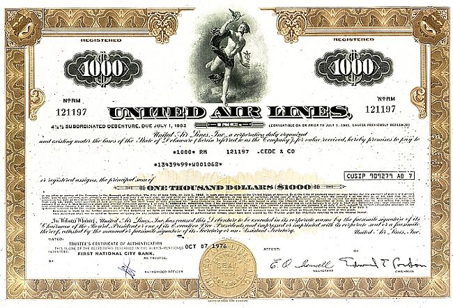 United Air Lines Inc. historic stocks - old certificates