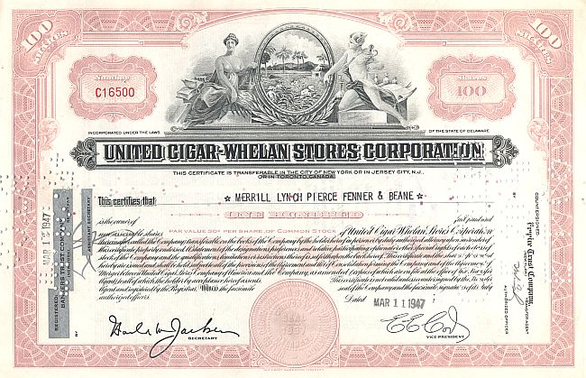United Cigar Whelan Stores historic stocks - old certificates