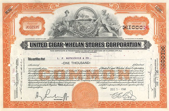 United Cigar Whelan Stores (Rothschild) historic stocks - old certificates