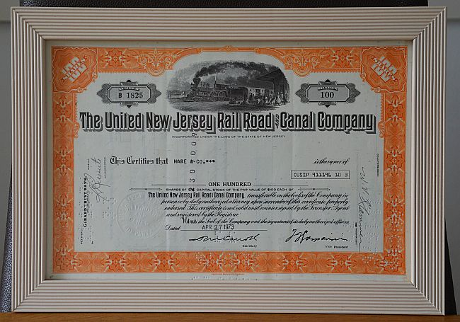 United New Jersey  Railroad and Canal historic stocks - old certificates