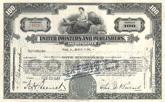 United Printers and Publishers historic stocks - old certificates