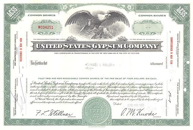 United States Gypsum Company historic stocks - old certificates