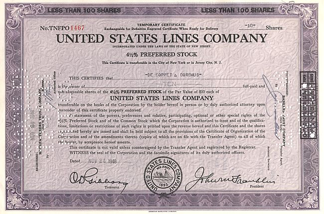 United States Lines Company (alt) historic stocks - old certificates