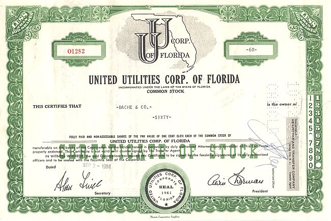United Utilities Corp. of Florida historic stocks - old certificates