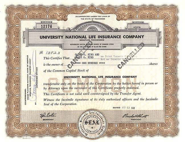 University National Life Insurance Company historic stocks - old certificates