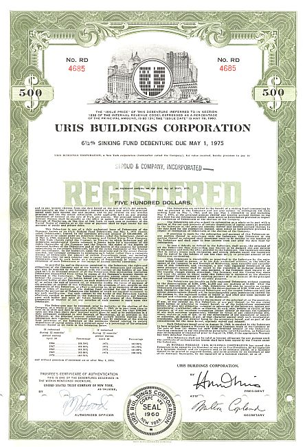 Uris Buildings Corporation historische Wertpapiere - alte Aktien