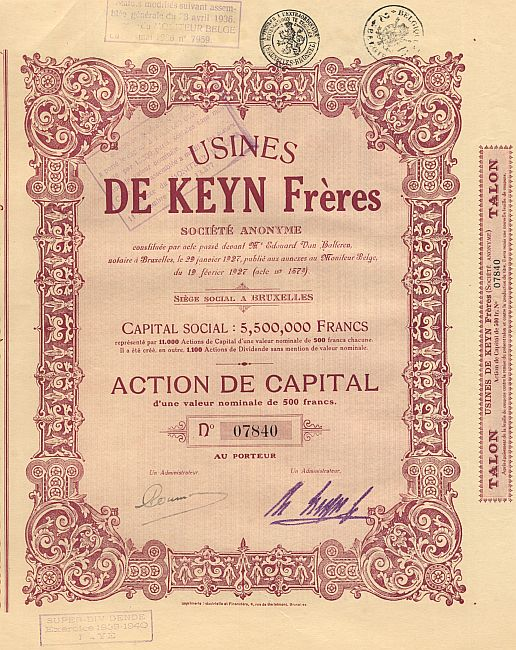 Usines de Keyn Freres (1927 Stammaktie) historic stocks - old certificates