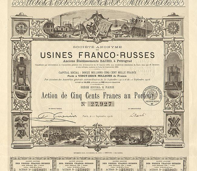 Usines Franco-Russes  historic stocks - old certificates