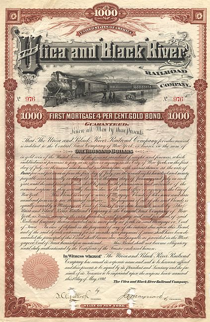 Utica and Black River Railroad Company historic stocks - old certificates