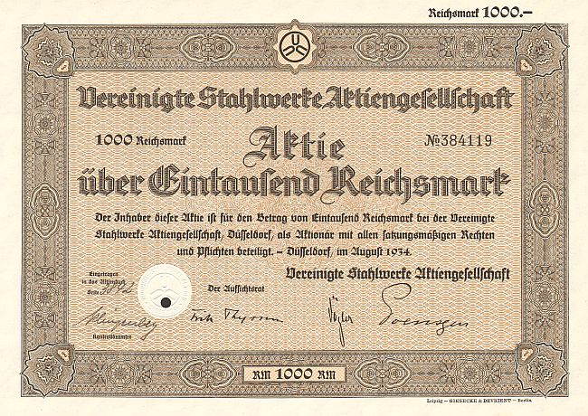 Vereinigte Stahlwerke Aktiengesellschaft (100) -  historic stocks - old certificates Others